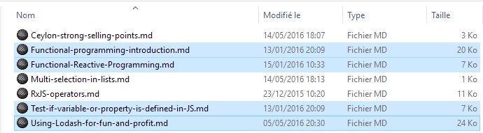 Multi-selection in Windows Explorer